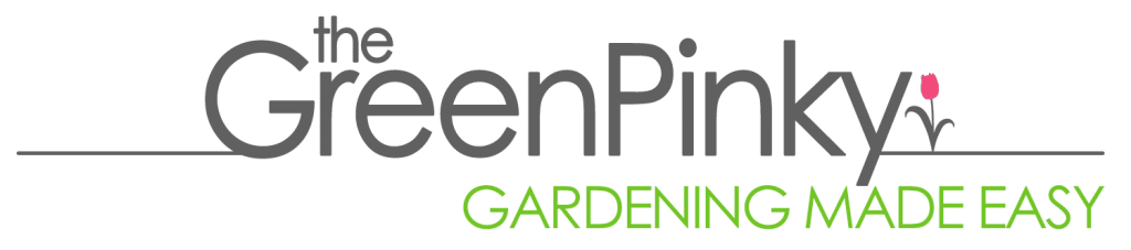 the Green Pinky's logo which is the word the Green Pinky in grey with the slogan Gardening Made Easy underneath
