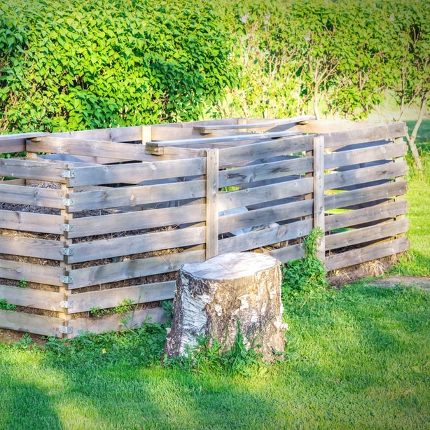 DIY compost pile with three separate compartments