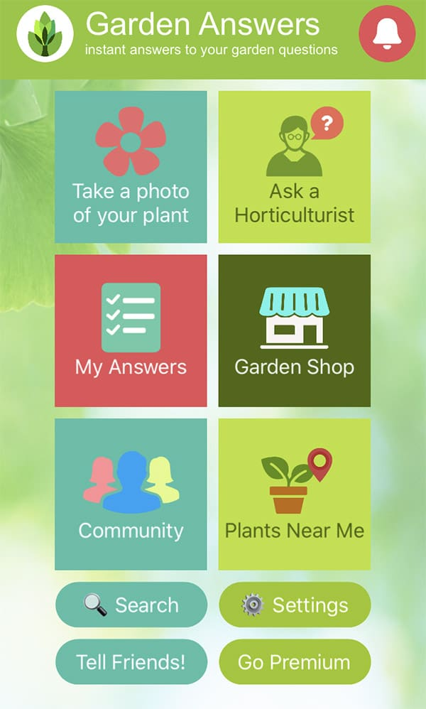 The main screen of the garden answers app