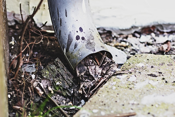Gutters with drainage problem can cause mud-filled lawns.