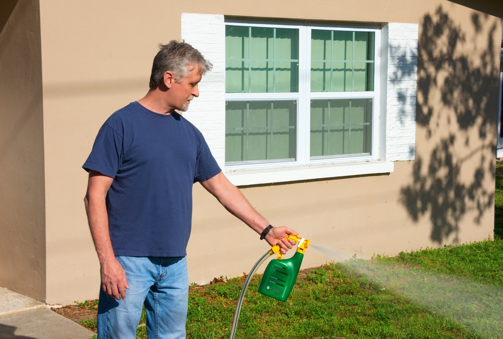 A man in his mid-50's is spraying a liquid fertilizer on his lawn using a hose attachment