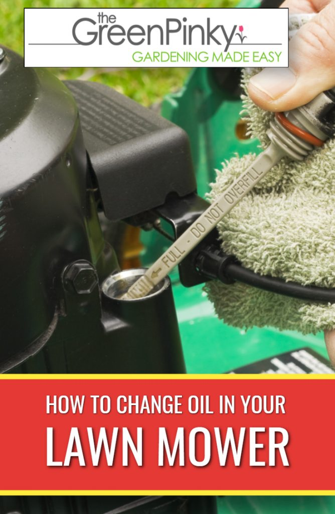 Changing oil in a lawn requires the use of a guide.