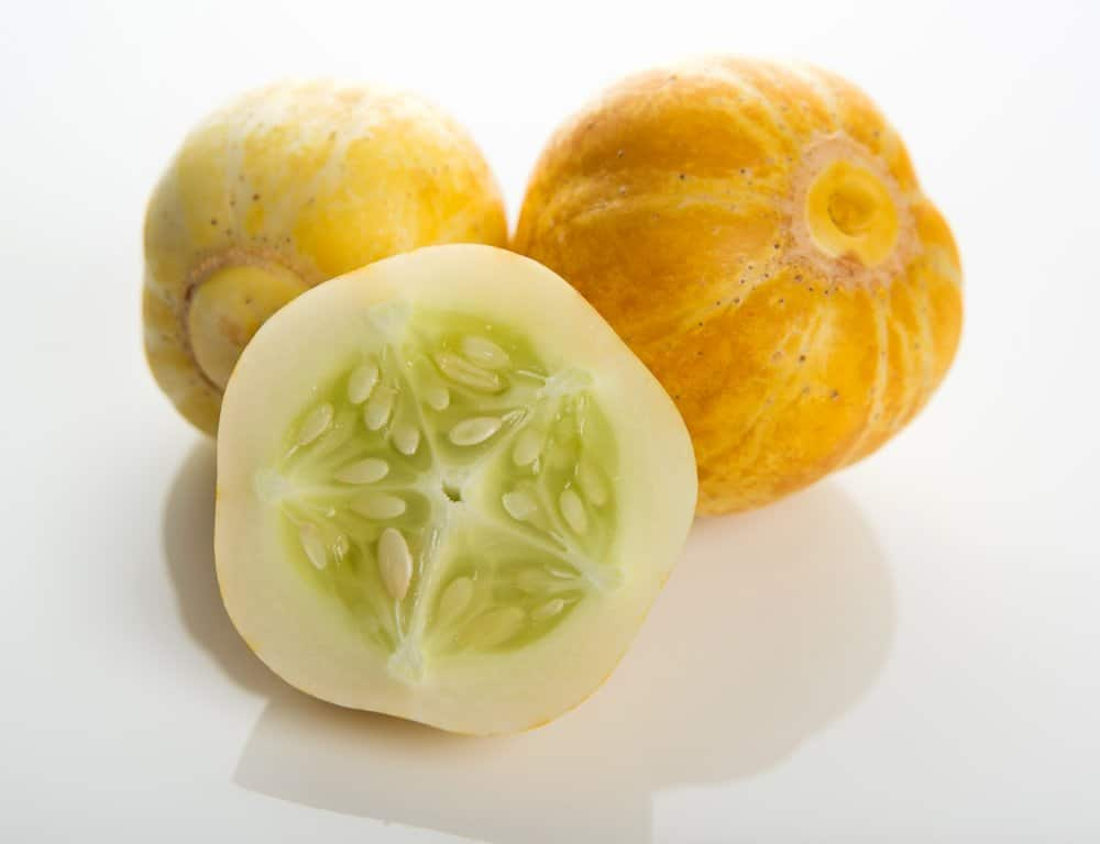 Lemon cucumber with seeds