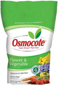 Osmocote fertilizer is a good balanced nutrient food for these bushes.