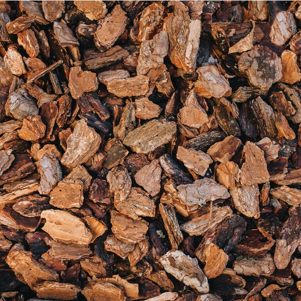 Pine bark comes in a variety of sizes and shapes and can be used to suppress weeds