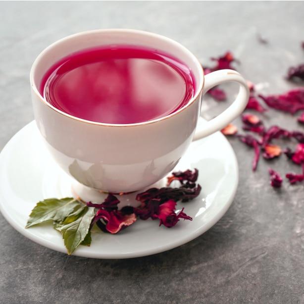 Pink hibiscus flower tea with recipe