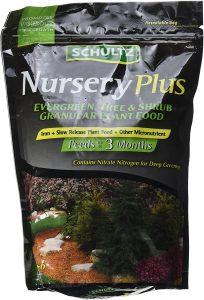 Arborvitae fertilization with schultz nursery plus is recommended