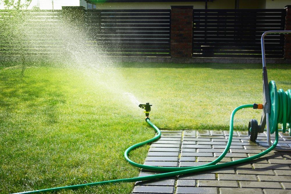 Sprinkler watering a lawn.