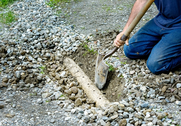 A french drain trough can be dug to drain water.